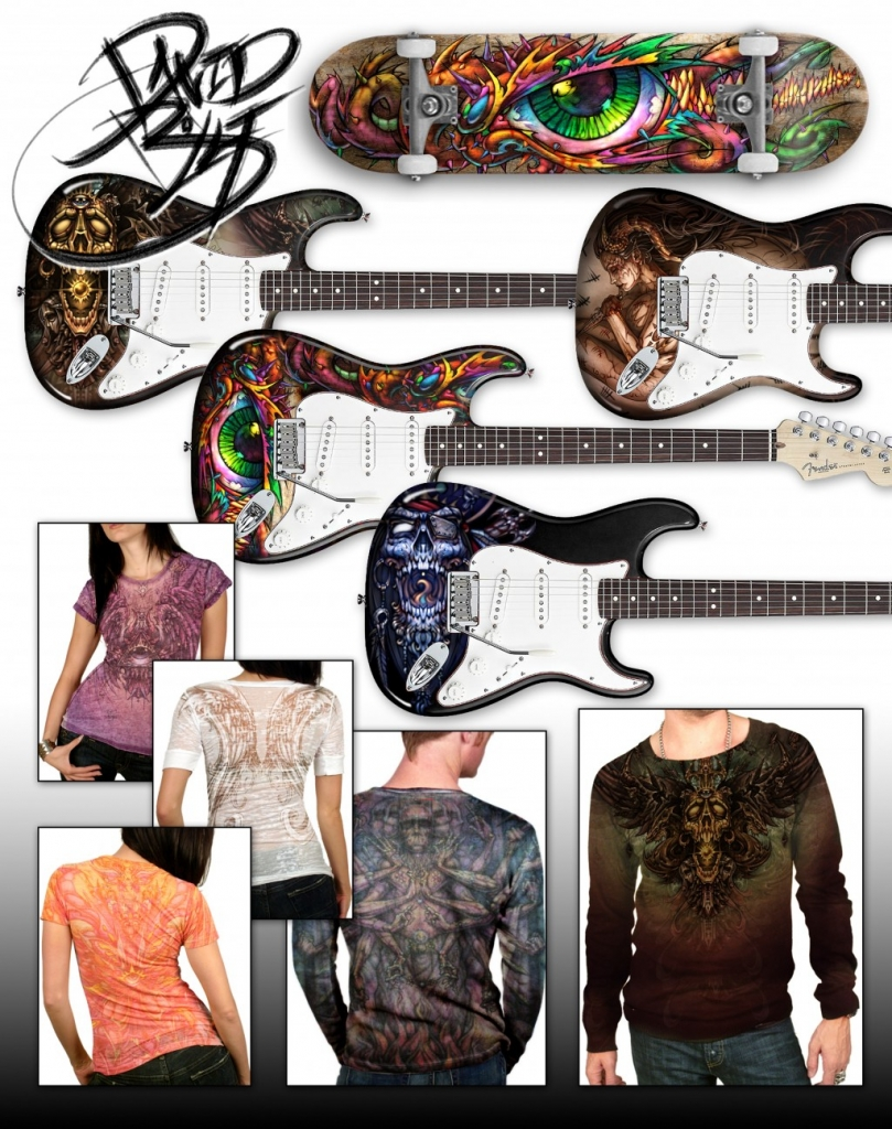 Custom airbrushed electric guitars by David Bollt