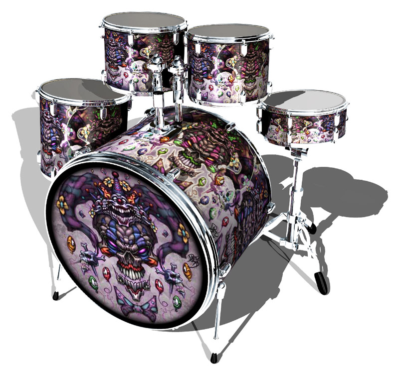 Rocken Wraps evil clown drum set