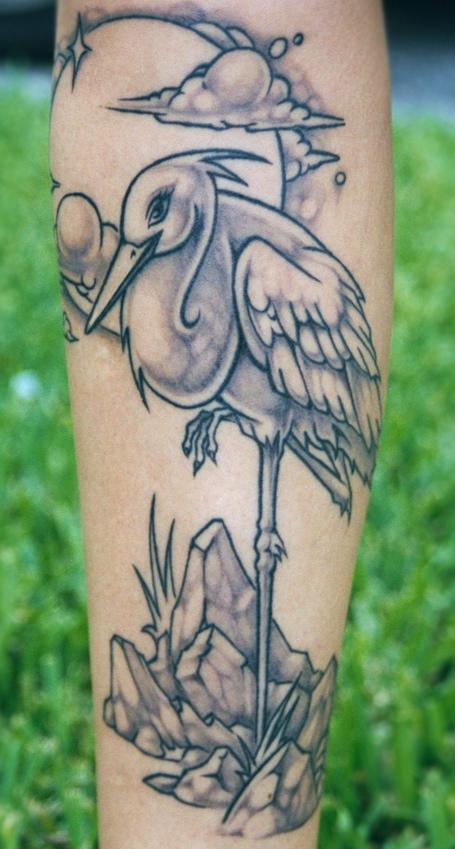 crane tattoo by David Bollt