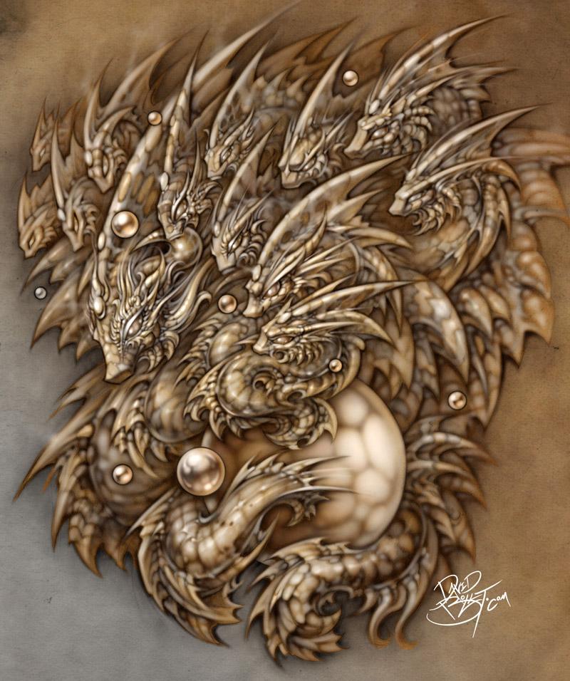 Fractal Dragon digital fantasy art by David Bollt