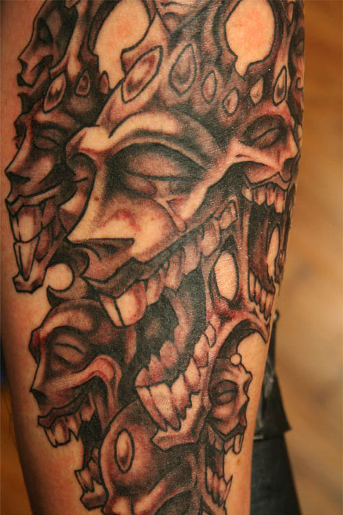 crazy smiling laughter tattoo by David Bollt