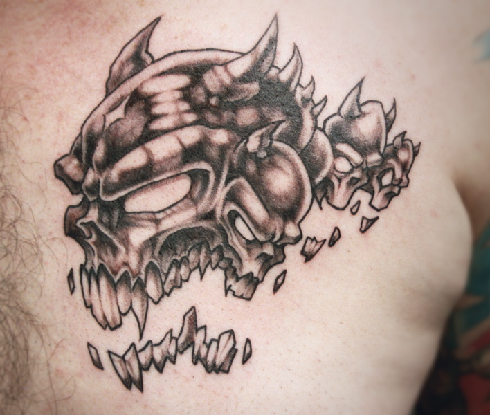 bad ass skull tattoo with horns by David Bollt